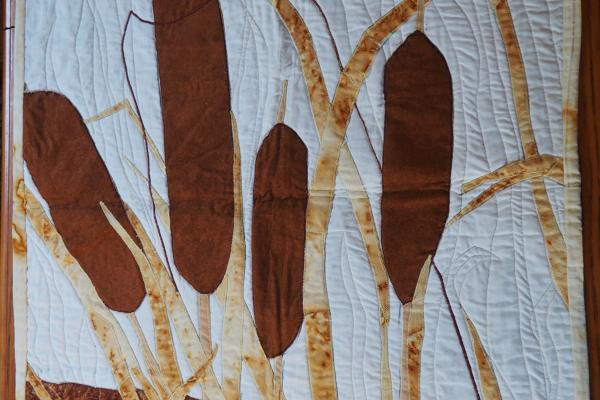 Rust-Dyed Bullrushes Wall Hanging