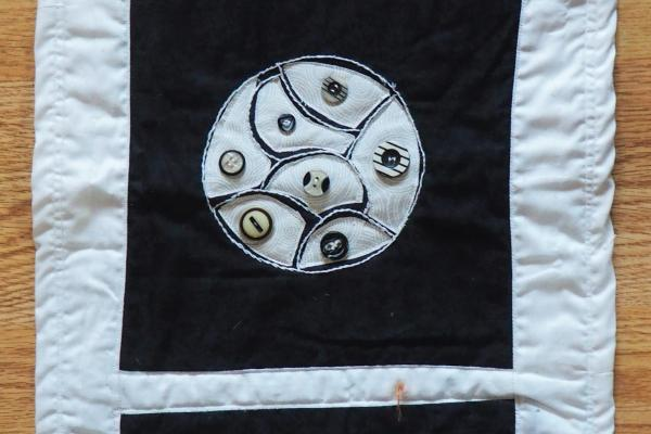 Embroidered with Buttons Wall Hanging